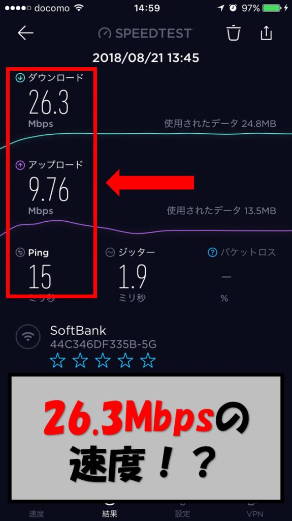 SoftBankAirの速度