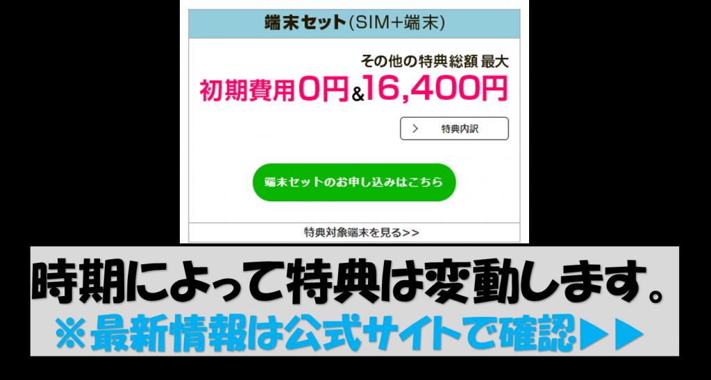 SIM+端末セット特典