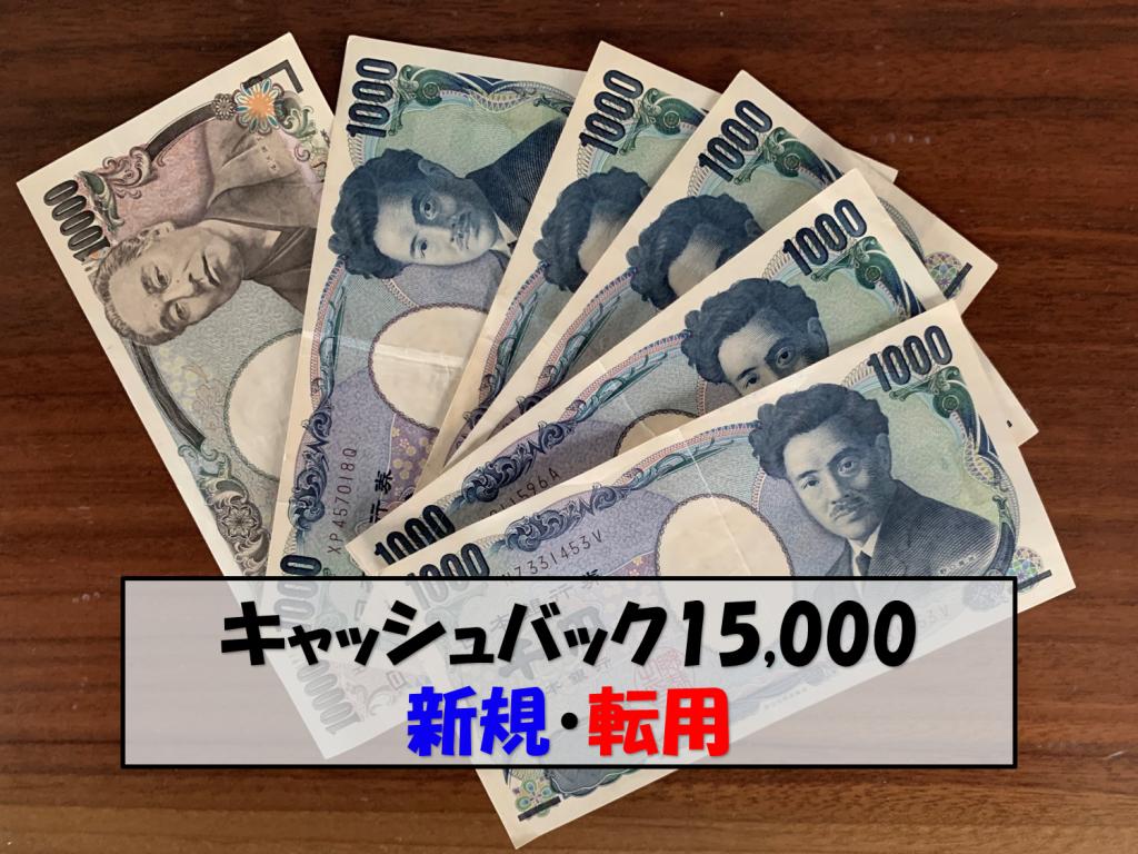 キャッシュバック15,000円