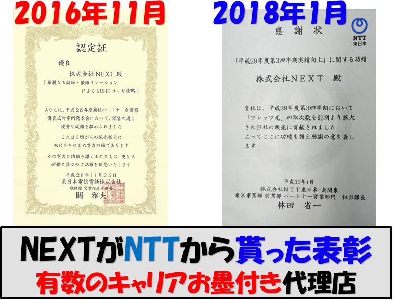NTTから受けた表彰