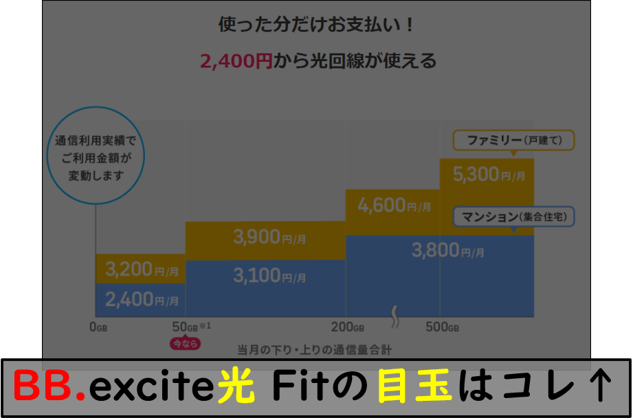 BB.excite光 Fitの4段階制定額